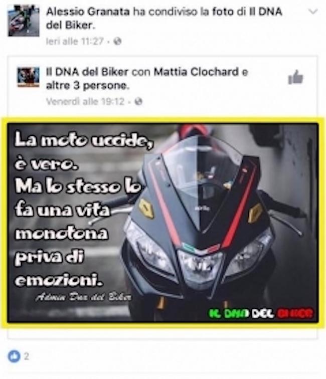 La Moto Uccide Un Post Su Facebook Profetico E La Vita