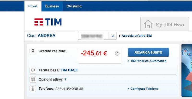 Tim, credito esaurito e debiti da migliaia di euro