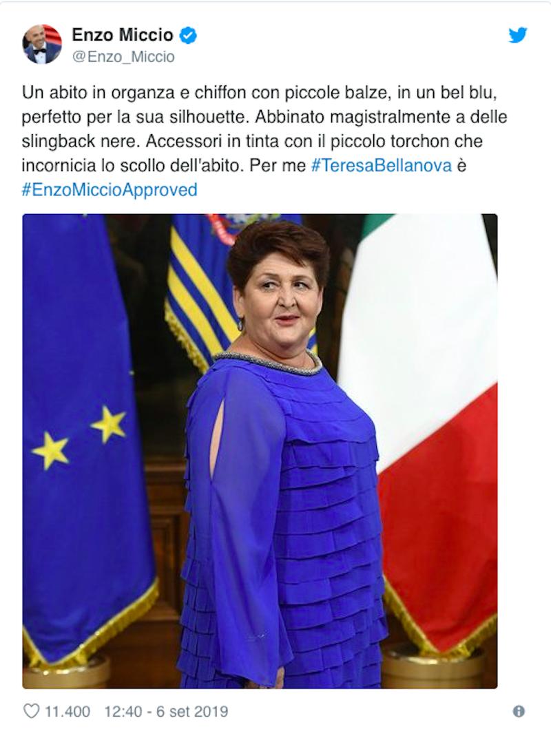 Teresa Bellanova |  l'outfit scelto dal ministro fa discutere  Parla Enzo Miccio