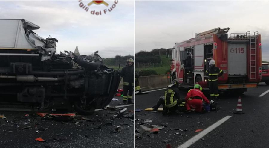 Incidente sull'autostrada: scontro tra pullman, tir e auto: