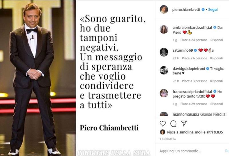 """""""Grazie…"""". Piero Chiambretti dopo il coronavirus torna a far"""