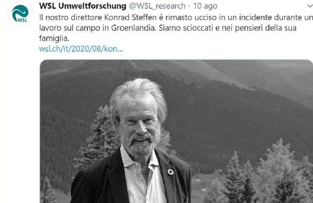 Morto Konrad Steffen, caduto in un crepaccio. Era impegnato in una delle sue ricerche
