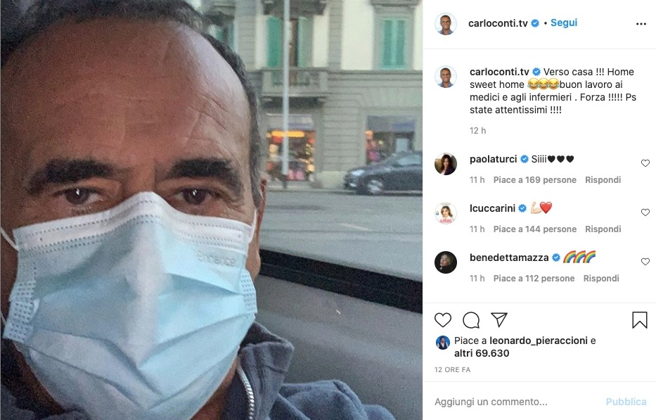 """Carlo Conti in lutto, ultimo saluto via social: """"Perso un grande protagonista"""""""