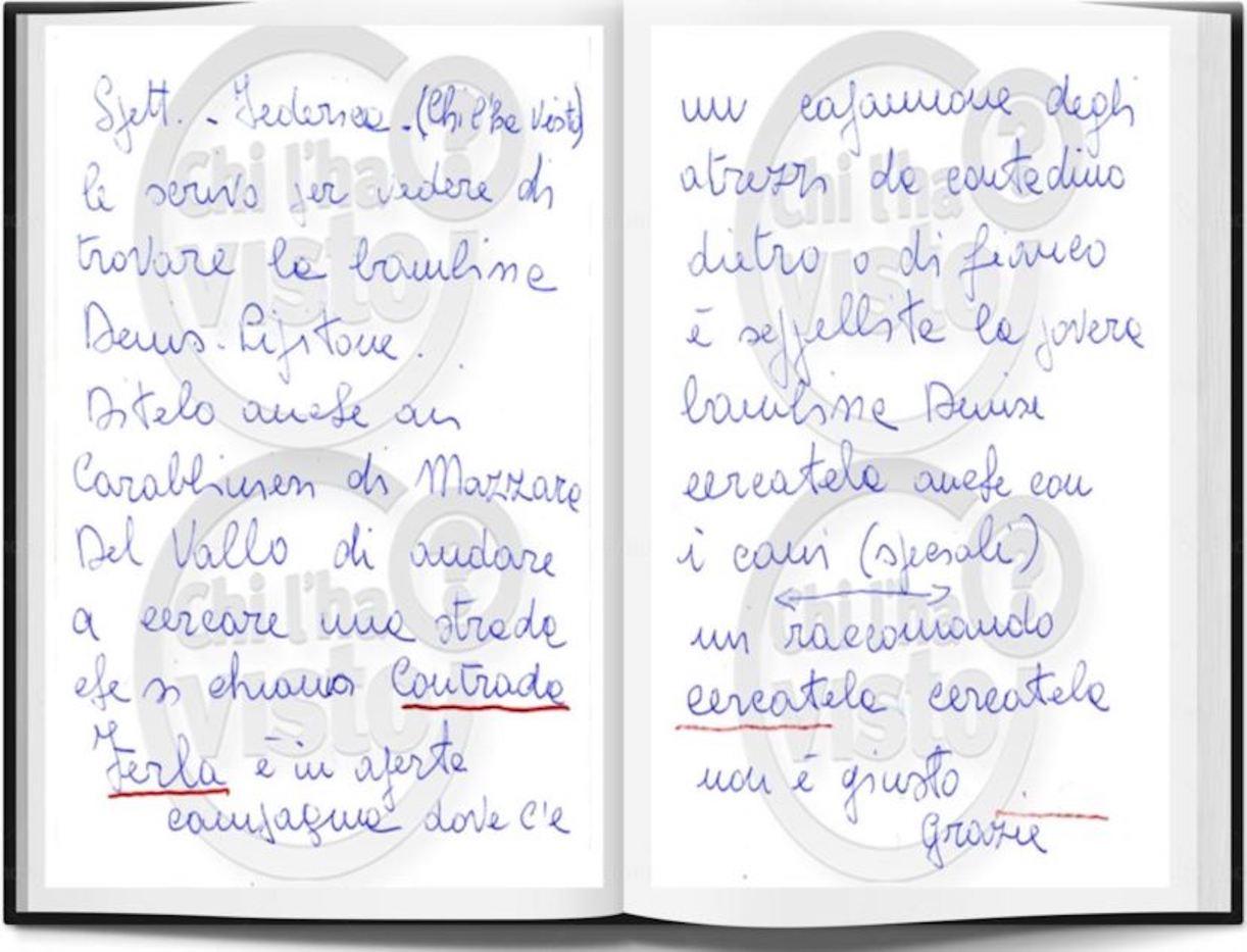 Denise Pipitone lettera anonima