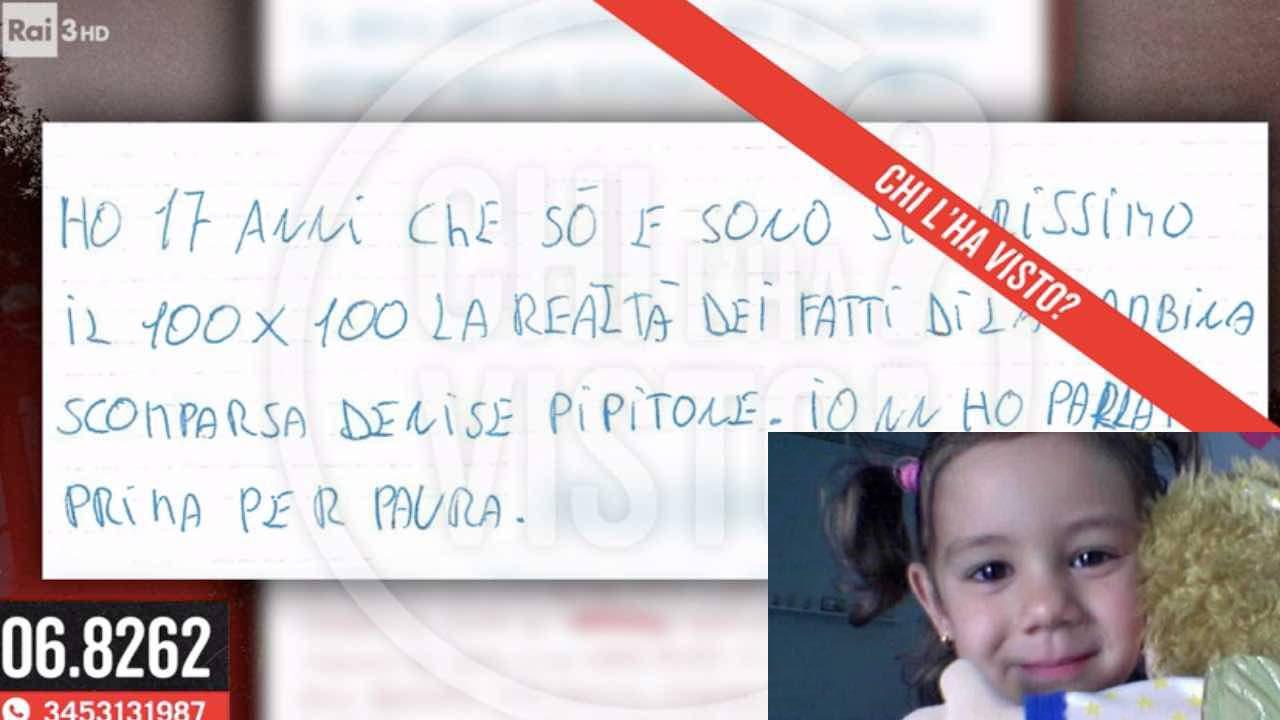 Denise Pipitone lettera chi l'ha visto