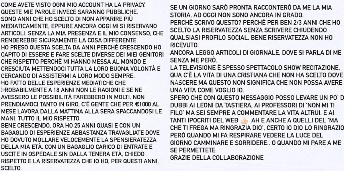 Asia Nuccetelli Antonella Mosetti messaggio chiarezza
