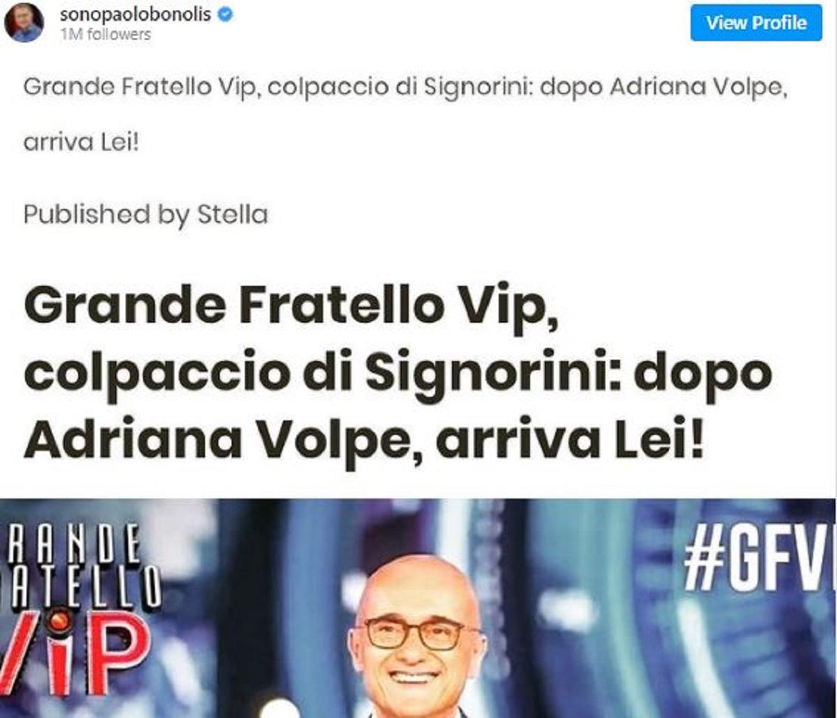 Paolo Bonolis Sonia Bruganelli reazione opinionista GF Vip