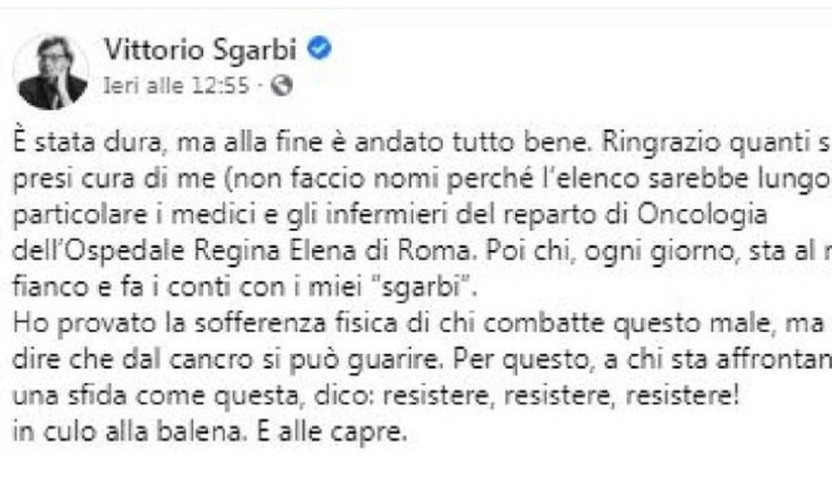 Vittorio Sgarbi guarigione tumore annuncio