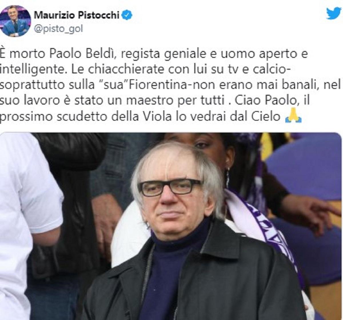 Simona Ventura lutto Paolo Beldì messaggio