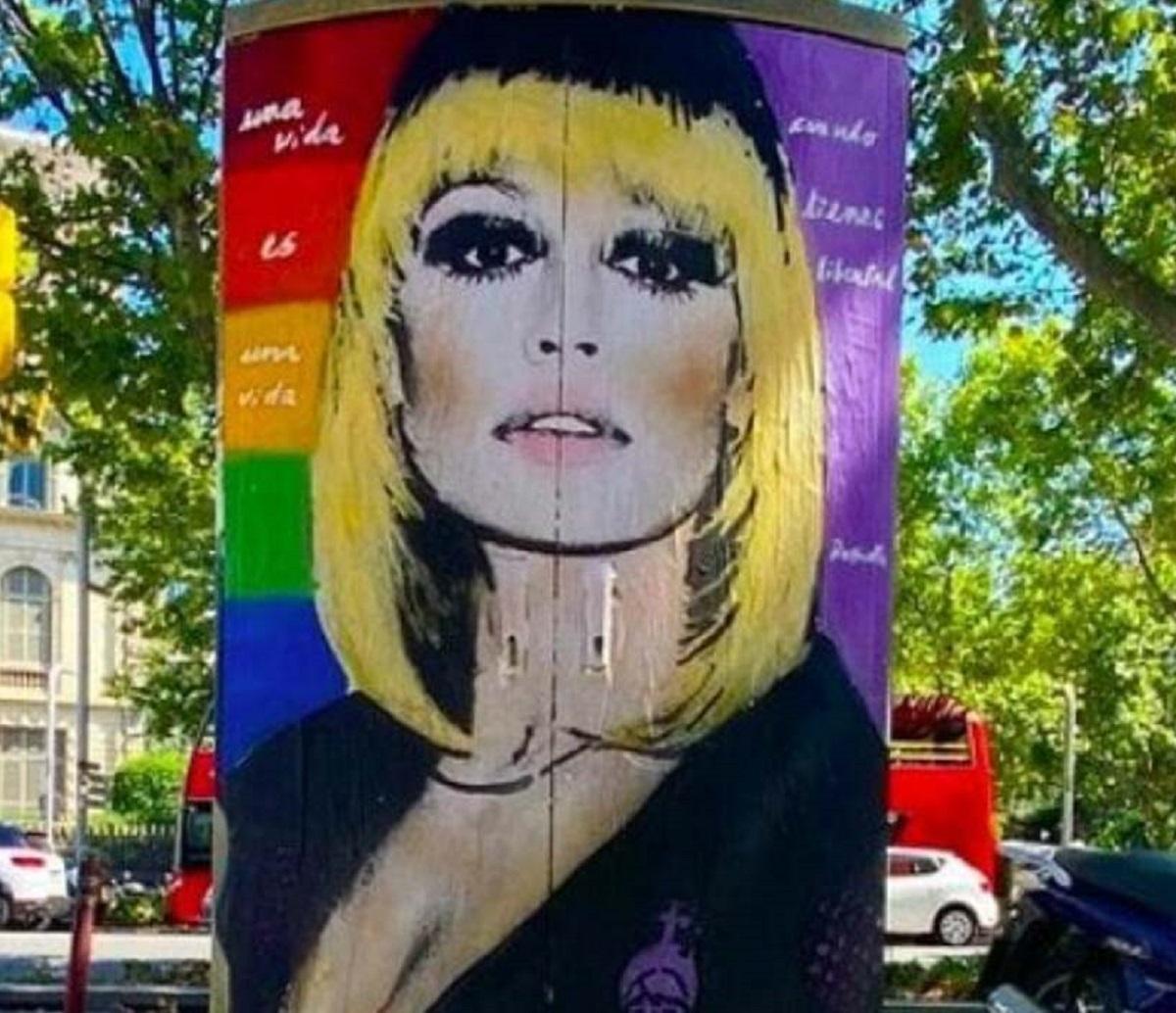 Raffaella Carrà Barcellona murale vandalizzato