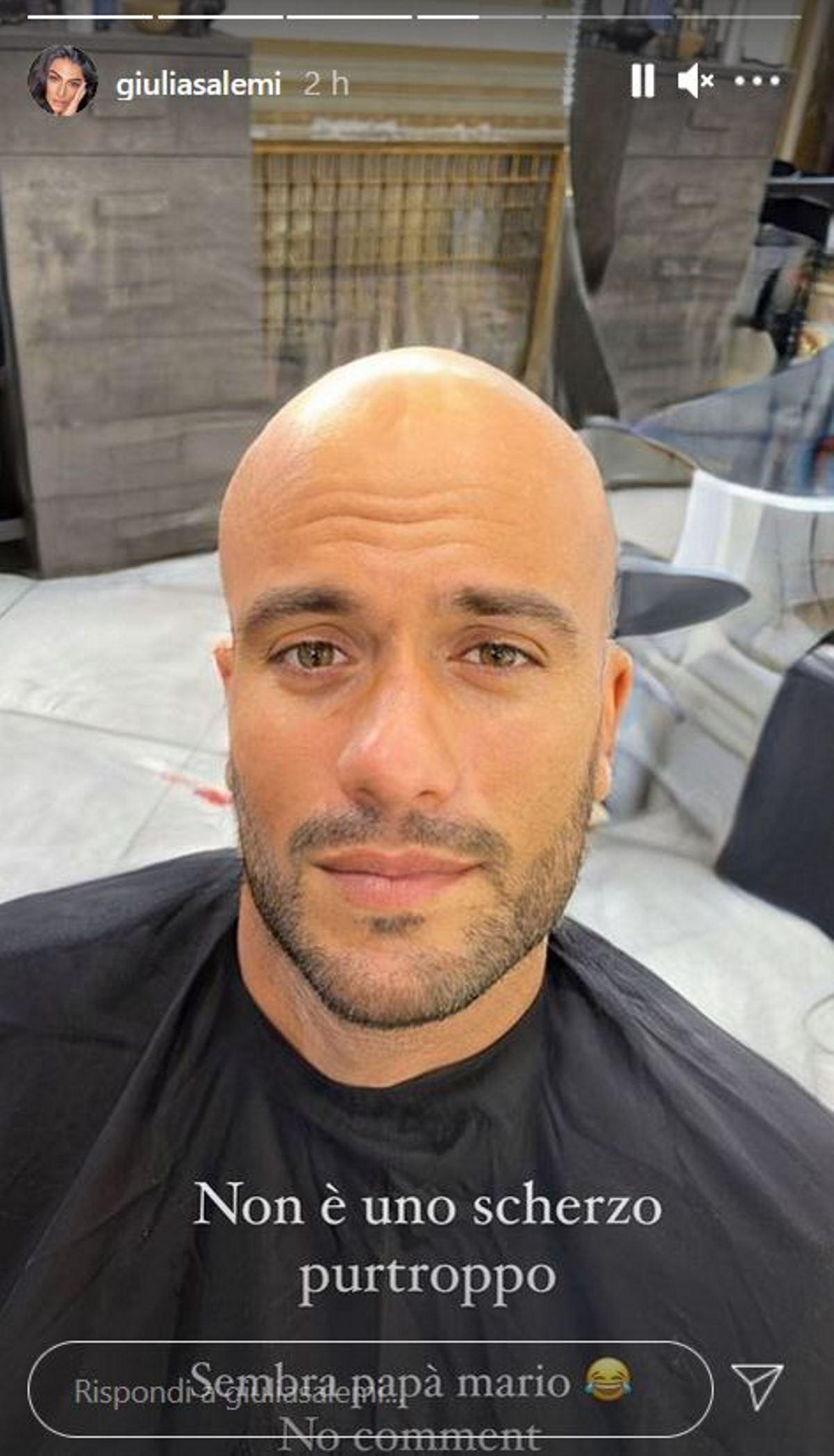 pierpaolo pretelli capelli rasati a zero scherzo giulia salemi