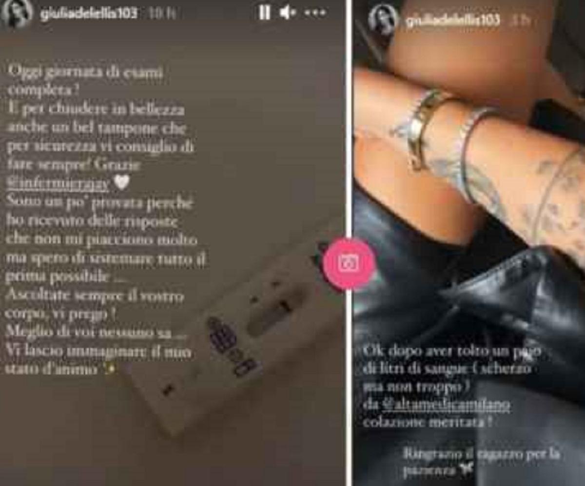 Giulia De Lellis annuncio analisi sangue ansia