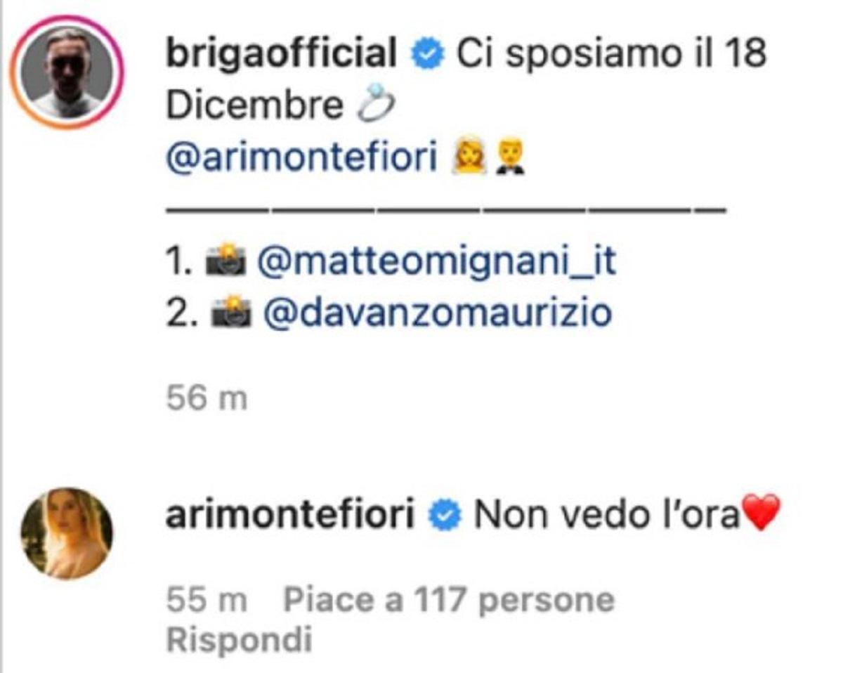 Briga Arianna Montefiori annuncio matrimonio data