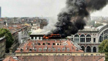 Incendio piazza Carlo Felice